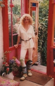 Sarah in the conservatory that I built for her - Portland Road, Holland Park 1983