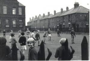 Todd's Nook school yard 1950's - Darnell Street and New Mills (off Barrack Road)